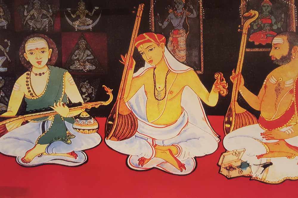 Traditional painting of Carnatic Trinity